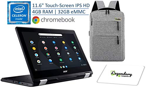 "2020 Acer Spin 11 2-in-1 11.6"" IPS Touch-Screen Convertible Chromebook, Intel Celeron Dual-Core N3350, 4GB DDR4, 32GB eMMC, 10-Hour Battery /Legendary Computer Backpack & Mouse Pad Bundle"