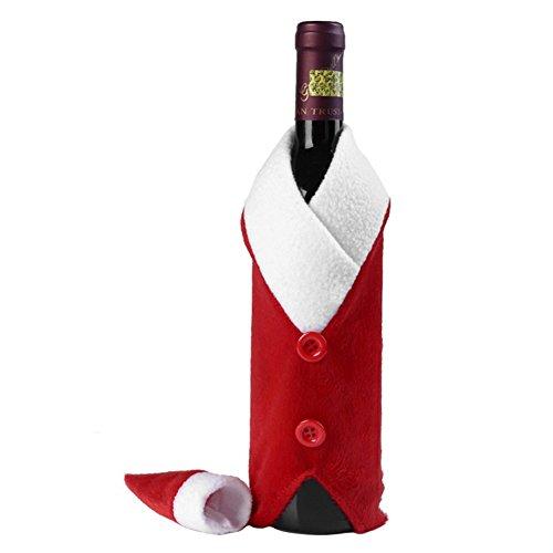 Kentop Weinflasche Dekoration Weihnachten Wein Flasche Tasche Rotwein Beutel Weihnachten Geschenkverpackung, 2-teiliges Set, Weihnachtskostüm und Weihnachtshut