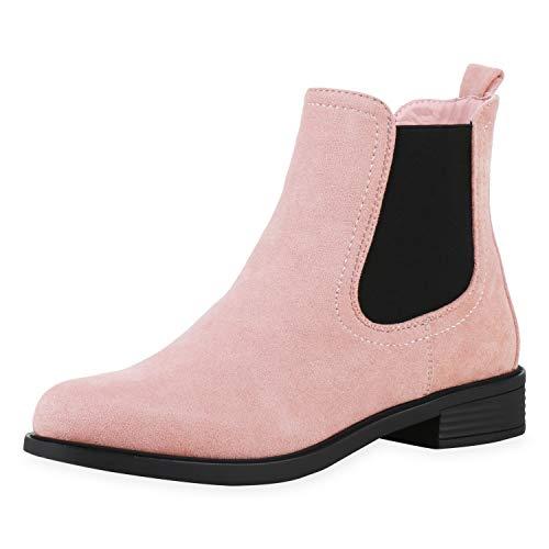 SCARPE VITA Damen Chelsea Boots Leicht Gefüttert Stiefeletten Wildleder-Optik Profilsohle Bequeme Blockabsatz Schuhe 197043 Rosa 40