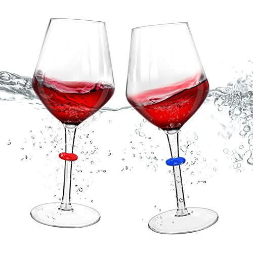 Floating Wine Glasses for Pool with Charms Tags, Shatterproof Poolside Wine Glasses, Floating Cup With Stem, Drinking Glasses for Pool, Unbreakable Wine Cup & BPA-free (16 Oz, Set of 2)