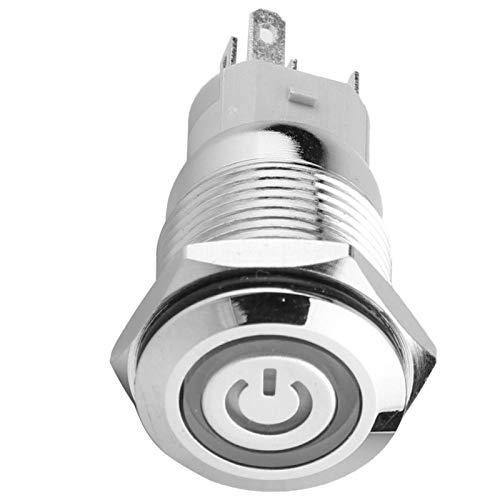 40pcs 24VDC Interruptor de botón de cabeza plana 5-pin Auto Reset Momentary Button Switch Metal resistente impermeable con luz LED para relé de contactor (azul)
