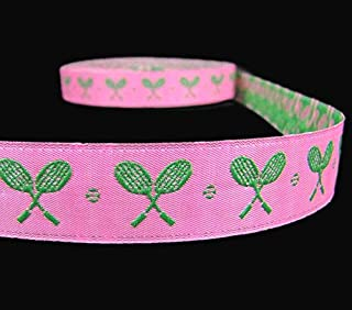 5 Yds Pink Green Tennis Racquets Woven Jacquard Trim Ribbon Lace Trim Embroidery Applique Fabric Delicate DIY Art Craft Supply for Scrapbooking Gift Wrapping 7/8