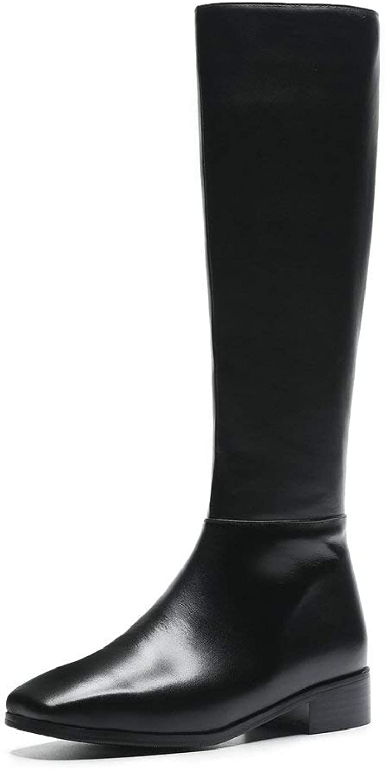 AnMengXinLing Fashion Black Knee High Boots Women Block Low Heel Square Toe Leather Riding Boot Zip Up Winter Slouchy Combat Boot