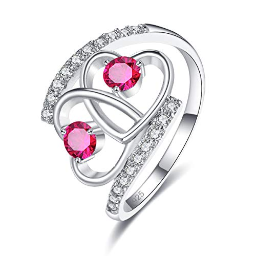 Empsoul 925 Sterling Silver Plated Ruby Spinel Double Heart Forever Love Knot Infinity Engagement Ring Size 9