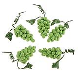 Gazechimp 5PCS Nourriture Fruits Légumes en Polymer Clay Décoration Cuisine Jardin pour 1/12 Maison de Poupée Miniature Dollhouse Accessoires - Raisin Vert