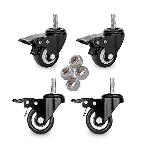 """YOOGAA 2"""" Locking Stem Caster Swivel Rubber Caster Wheels Double Bearing Caster Set of 4 Heavy Duty 3/8"""