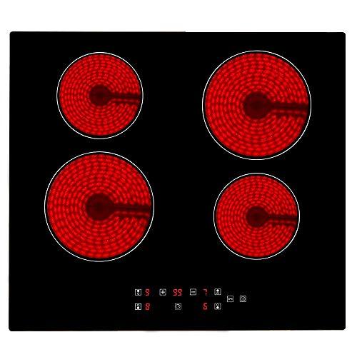 Placa de vitrocerámica, Eléctrica Encimera vitrocerámica, 4 zonas de cocción, Controles táctiles del Sensor, 60cm Encimeras De Cocción, vitrocerámica portatil, Vidrio y cerámica Negro