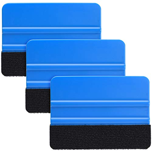 Durable Black Felt Edge Vinyl Squeegee Tool 4-Inch, Car Vinyl Film Wrapping Decal Squeegee Window Tint Work, Professional Scratch Free Squeegee (Pack of 3)