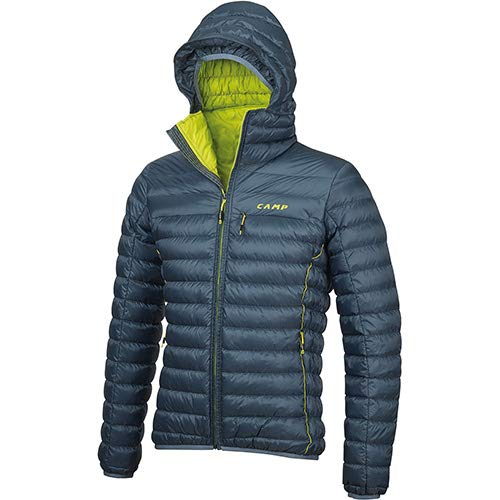 C .A.M.P. Camp ED Protection Jacket Men's - Giacca Piumino Uomo con Cappuccio Blu Pastello/Lime (L)
