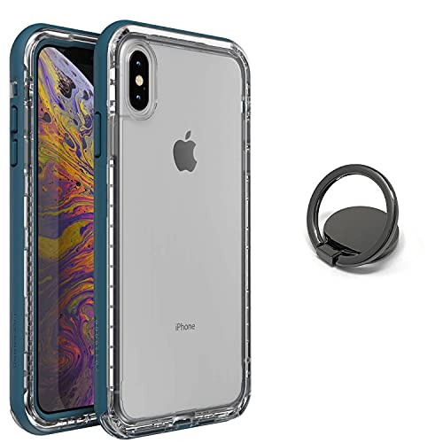 LifeProof Next Series Case for iPhone Xs MAX + Phone Ring Holder Kickstand with Degree Rotation - Bundle- Non-Retail Packaging - Clear Lake