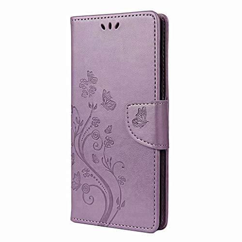 GOGME Funda para Xiaomi Redmi Note 9T 5G, Premium PU Cuero Billetera Flip Carcasa, [Flores y Mariposa en Relieve] Estuche a Prueba de Golpes con Cierre Magnético/Kickstand/Card Slot, Púrpura