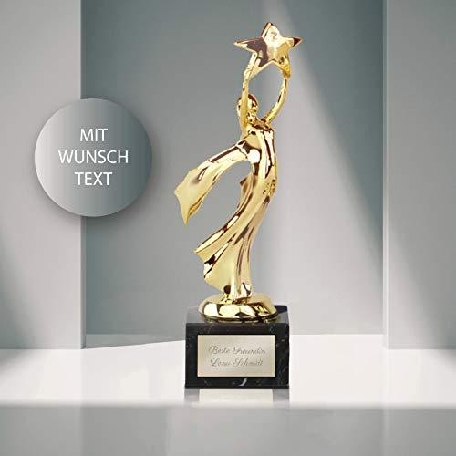 Smyla Siegerfigur Victoria mit Gravur   Goldener Pokal mit Marmorsockel und individueller Widmung 22 cm