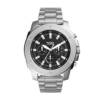 Fossil Men s Mega Machine Quartz Stainless Steel Chronograph Watch Color  Silver  Model  FS5716