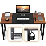 CubiCubi Computer Office Desk 63', Study Writing Table, Modern Simple Style PC Desk with Splice Board, Black and Espresso