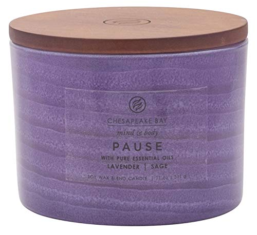 Chesapeake Bay Candle Mind & Body Serenity Scented Candle, Pause with Pure Essential Oils (Lavender and Sage), Coffee Table