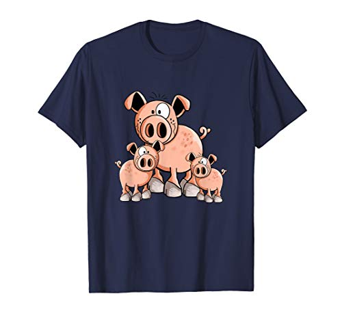 Happy Schweine Familie T Shirt I Schweinchen Ferkel Wutz