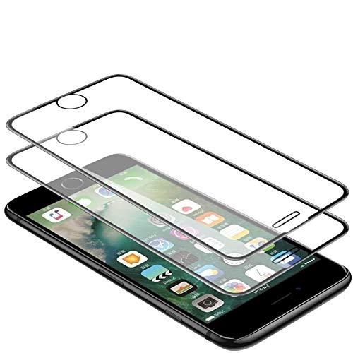 WEOFUN 3D Vetro Temperato per iPhone 6/6s/7/8 [2 Pezzi],Pellicola Protettiva Compatibile con iPhone 6,iPhone 6S,iPhone 7,iPhone 8 [Durezza 9H,Anti-Scratch,Anti-Impronte, Facile da Pulire]-Nero