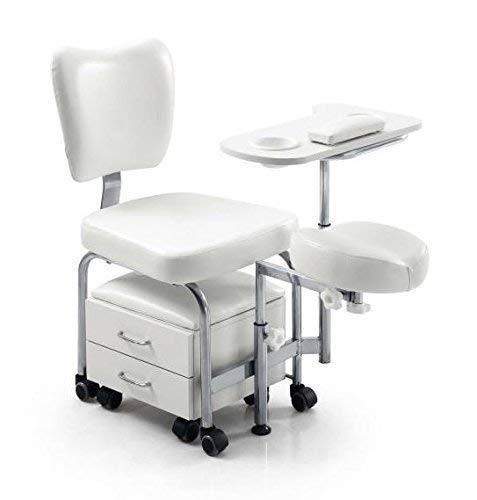 Urbanity manicure pedicure nail station beauty chair stool table spa drawers white