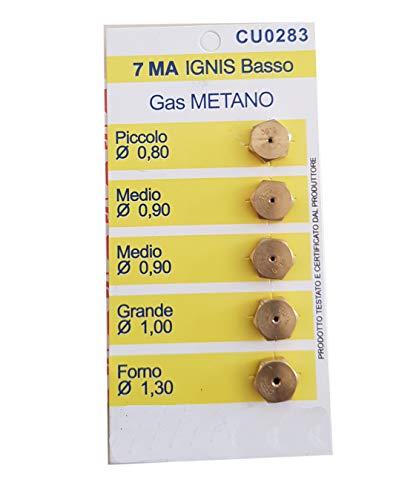 Ugelli di ricambio per fornelli a GAS 5 Ugelli compatibili con Ignis (7MA, GAS Metano)