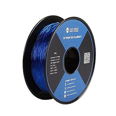 SainSmart 21-028-224 Flexible TPU Filament for 3D Printers, 1.75 mm, 1 kg, Blue