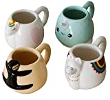 Animal Espresso Mug Set 4 Characters Narwhal, Unicorn, Llama & Sloth