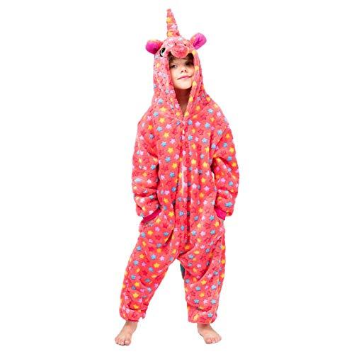 wetry Einhorn Jumpsuit Kinder Schöne Overall Unisex Strampelanzug Mädchen Nachtwäsche Unicorn Pyjamas Kostüm Cosplay Onesies Tier Schlafanzug/110
