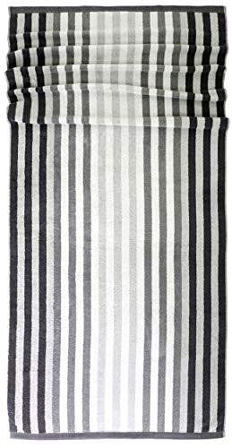 Lashuma Saunatuch Stripes, Liegehandtuch Grau, Saugstarkes Saunahandtuch, Handtuch aus 100% Baumwolle Größe: 85x200 cm