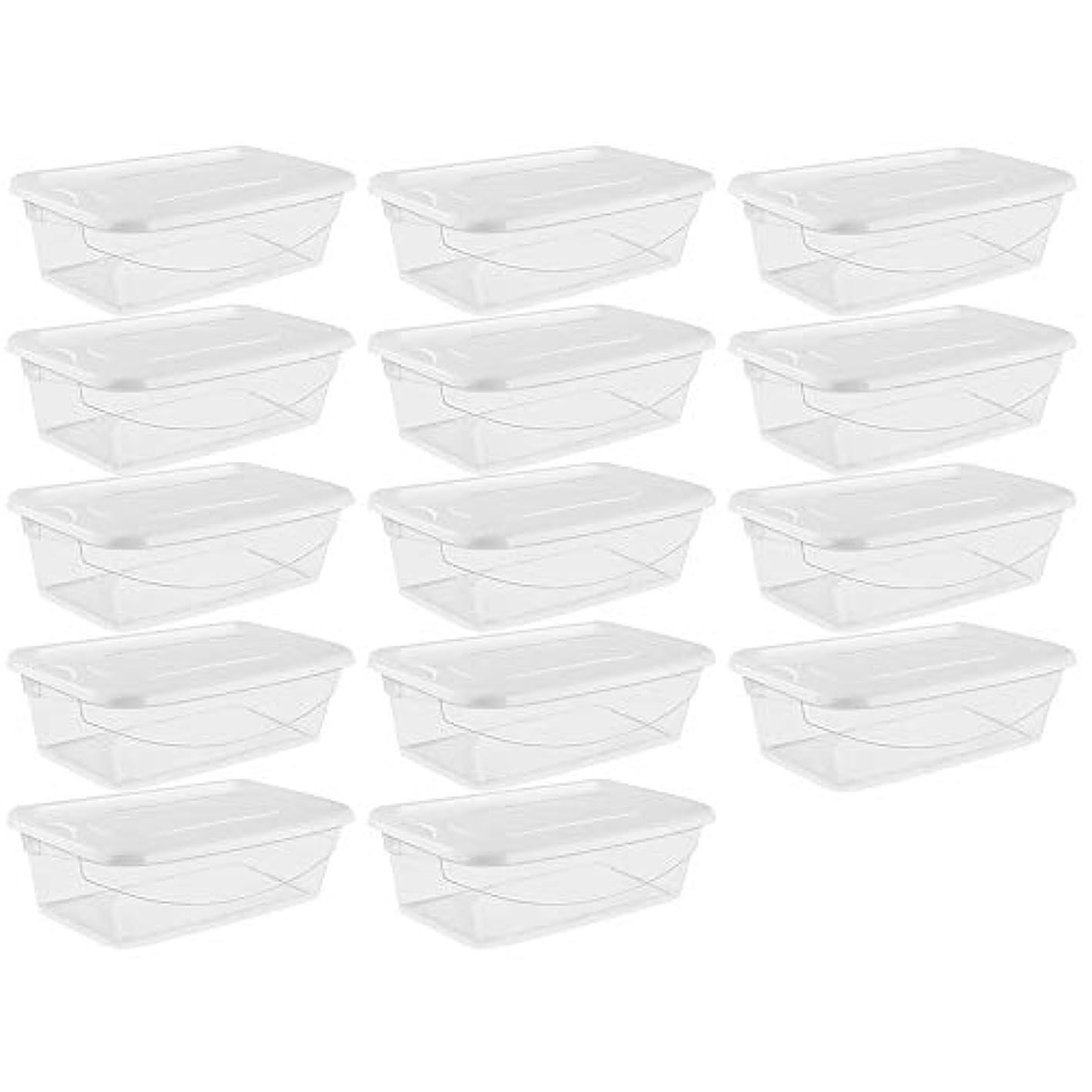Shiny-GoGo Plastic Storage Box Shoe Box 6 Quart/5.7 Liter, Buckle White Lids, Clear Base(Pack of 14)