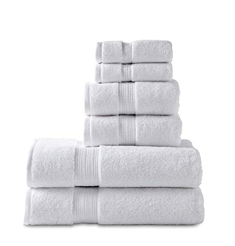 804 GSM 6 Piece Towels Set, 100% Cotton, Premium Hotel & Spa Quality, Highly Absorbent, 2 Bath Towels 27' x 54', 2 Hand Towel 16' x 28' and 2 Wash Cloth 12' x 12'. White Color