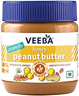 VEEBA Honey Peanut Butter Crunchy, (Only Honey & Peanuts) Jar,  340 g
