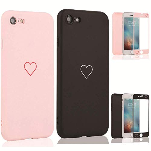 LAPOPNUT 2 Pack Hülle für iPhone 7 Plus/iPhone 8 Plus Cute Love Heart Hülle Matt Soft Silicone Slim TPU Handytasche Flexible Schutzhülle HandyHülle Back Cover mit Screen Protector
