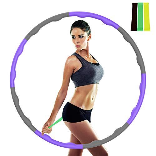 Tinzzi Hula Hoop, Hula Hoop Reifen zur Fitness/Bauchformung/Gewichtsabnahme, 6-8 Teiliger Abnehmbarer Hoola Hoop Reifen für Erwachsene & Kinder geeignet für Fitnessstudio/Büro/Zuhause usw