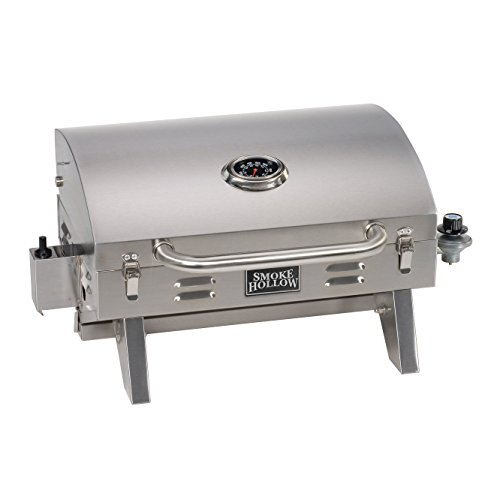 Smoke Hollow 205 Stainless Steel TableTop Propane Gas Grill, Perfect for tailgating,camping or any outdoor event