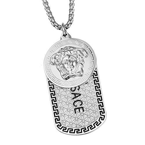 Men Hip Hop Greek Disc card Medusa Pendant Necklaces Luxury Stainless Steel Male Jewelry Gift,Silver