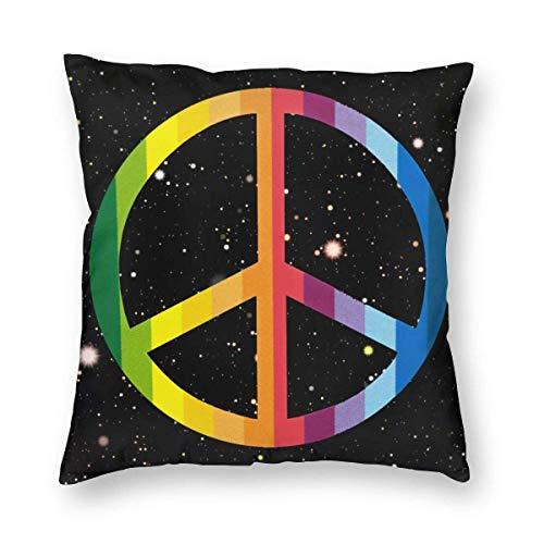VJSDIUD Funda de Almohada Peace Rainbow Sign Fundas de Microfibra Soft Throw Pillow Funda de Almohada estándar para Hombres, Mujeres, hogar, Exterior, Decorativo, sofá Cama, 20 'x 20'