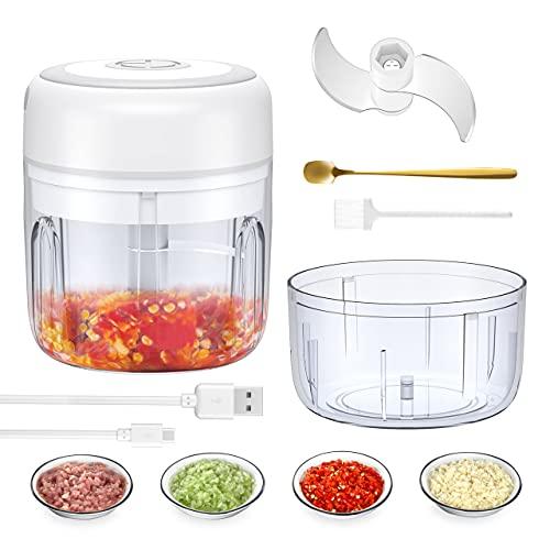 LEPO Küche Elektrisch Küchenmaschine, 250ml/100ml Mini Multizerkleinerer Gemüsezerkleinerer,Elektrisch Zerkleinerer Küche für Knoblauch,Obst,Hackfleisch Babynahrung mit 2 Sätze Edelstahlklingen
