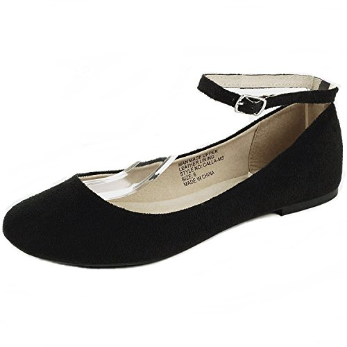Alpine Swiss Womens Black Suede Lined Calla Ankle Strap Ballet Flats 9 M US