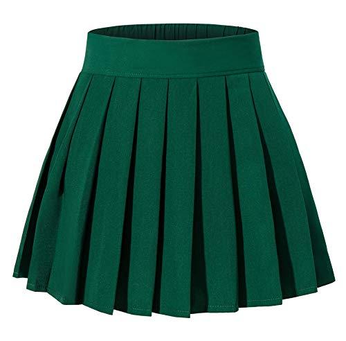 Women's High Waist Short Plaid Pleated Sexy Halloween Costumes Skirts(S,Dark Green)