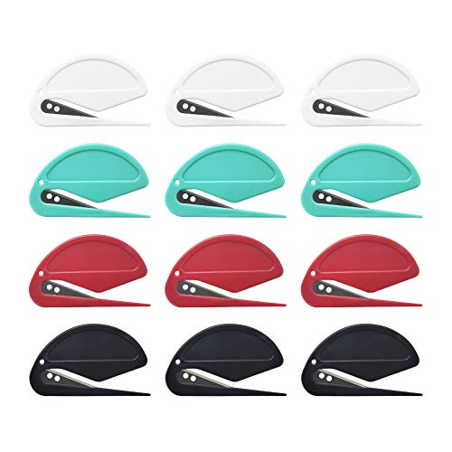 12 Pcs Letter Opener Slitter for Letter Openers with Blade for Envelope Package Paper Cut Safe Mail Opener Letter Opener Envelope Slitter red Green Black and White