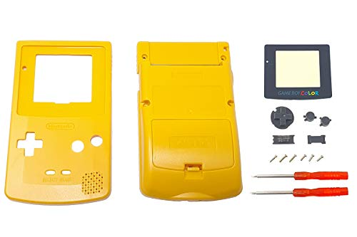 THE TECH DOCTOR Gehäuse für Gameboy-Gehäuse, Display-Objektiv und Tasten für Nintendo Gameboy Home – Professionelles Set inklusive Werkzeug (gelb)