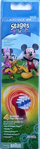 Braun Oral-B Stages Power Kids Aufsteckbürsten Micky Maus 4er Pack Bürstenköpfe Kinder EB10-4K Mickey Mouse