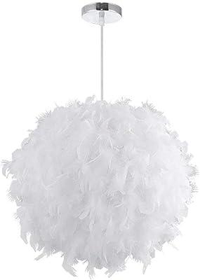 STOEX Lustre Suspension en Plumes 30 cm E27 40W Blanc: Amazon.fr ...
