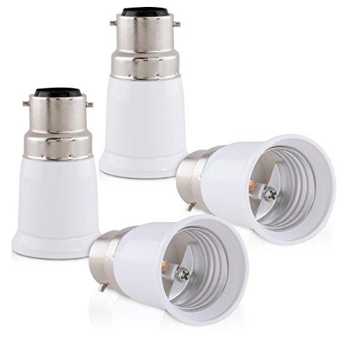 kwmobile 4x Lampenadapter Bajonett Konverter B22 Fassung auf E27 Lampensockel für LED-, Halogen-, Energiespar Lampen