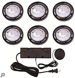 Commercial Electric 6-Light Under Cabinet Black Puck Kit with 200-Watt Touch Dimmer