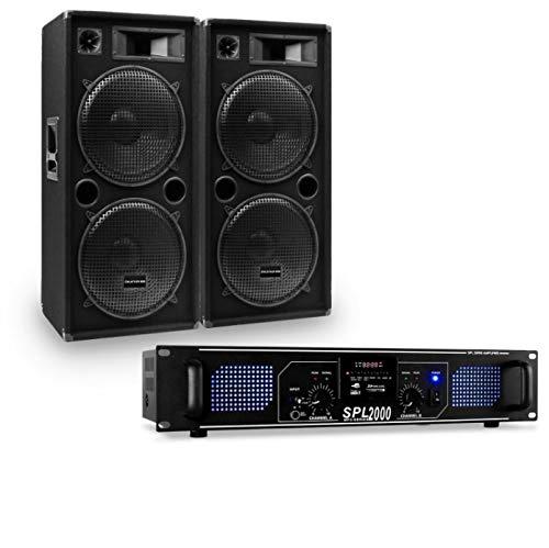 Auna Pro PW - MKII Lote de PA, Amplificador + 2 Altavoces pasivos de PA, 4 subwoofer de 15' / 1500 W MAX, Altavoces de 3 vías, Amplificador: 2 x 750 W/USB/SD / MP3, Negro