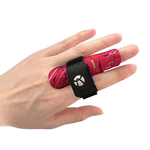 Kuangmi Finger Sleeve Support Protector Finger Splint Brace Pain Relief for Basketball Volleyball Baseball (S/M(Single), Red)