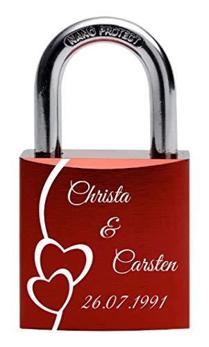 Gravurenalarm® Liebesschloss rot mit individueller Gravur - 2 Schlüssel - inkl. Samtsäckchen
