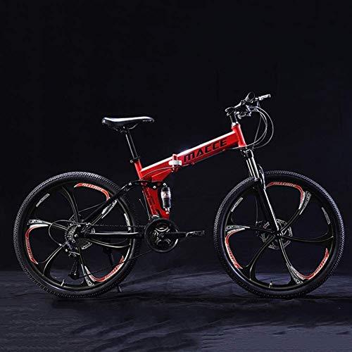 Fahrrad 24 Zoll Faltrad, Kinder Jugend Mountainbikes, 21 Geschwindigkeitsstahlrahmen Faltbare Kinderfahrrad MTB, Jungen-Mädchen-Kind-Fahrrad Hohe Carbon Steel (Color : Red C)