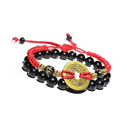 WANSHIDA QiQi Shop Ébano Madera Perlas Pulsera Hombres Mujeres Tejidas Hilo Cuerda Afortunado Negro Cobre Moneda Amuleto Riqueza roja Pulseras (Metal Color : Ebony Copper Coin)