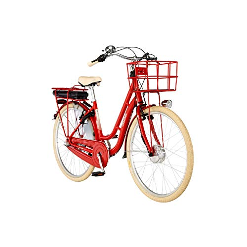 FISCHER E-Bike Retro 2.0, Elektrofahrrad, rot glänzend, 28 Zoll, RH 48 cm, Frontmotor 25 Nm, 36 V Akku